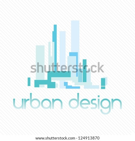 Abstract architecture of buildings, on white background - stock vector