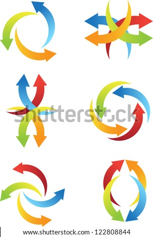 abstract arrow icons - stock vector