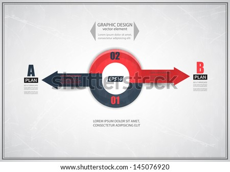 Abstract arrows of your directions, two different plans, vector illustration.