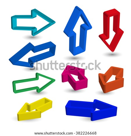 Abstract arrows on white background. Set of colorful arrows.