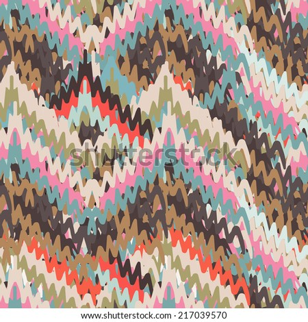 Abstract art chevron seamless pattern. Geometric background. Striped distressed background texture. Embroidery. Paint stains. Watercolor  - stock vector