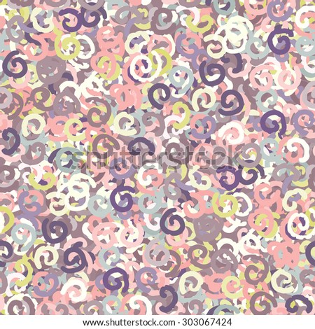 Abstract art colorful seamless pattern with curls. Repeating background texture. Fabric, cloth design, wallpaper, wrapping - stock vector