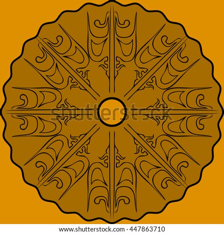 Abstract art composition golden color - stock vector