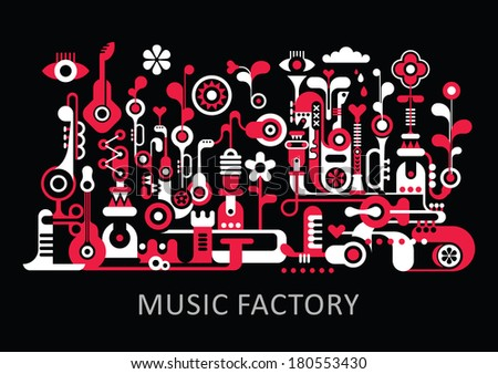 """Abstract art composition. Graphic design with text """"Music Factory"""". Isolated red and white vector illustration on black background. - stock vector"""