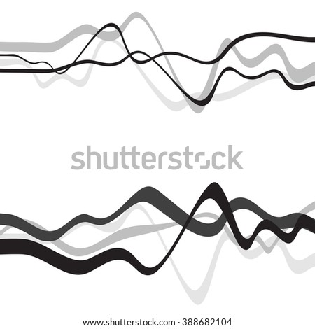 Abstract art design, Abstract background with curvy, curved lines wave gray shapes - stock vector