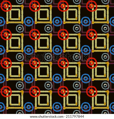 Abstract art ethnic distressed seamless pattern with squares and circles. Geometric repeating background texture. Fabric design. Wallpaper - vector  - stock vector