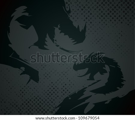 Abstract art of dragon on grunge background(Vector EPS10) - stock vector