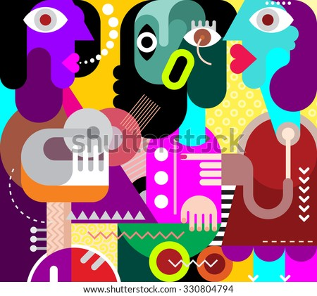 Abstract art portrait of three beautiful women. Graphic design vector illustration. - stock vector