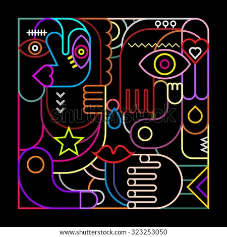 Abstract art vector illustration. Neon lights on black background.  - stock vector