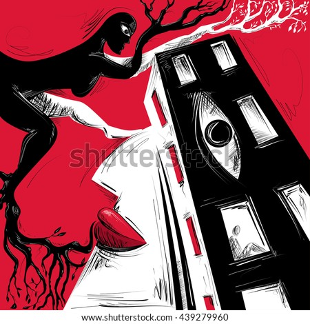 Abstract Art, Woman Mixed With Architecture, Window Eye, Nature (Vector Art) - stock vector
