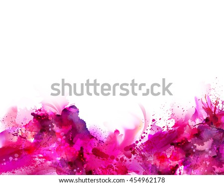 Abstract artistic Background forming by blots. Pink stains look like paint.