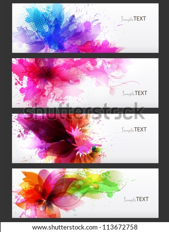 Abstract artistic Background with floral element and colorful blots. Set of abstract cards. Vector design - stock vector