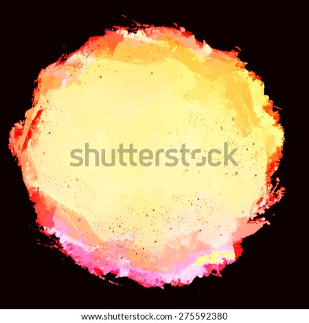 Abstract artistic beautiful and elegant colorful bright vector watercolor spot hand painted background on black. Copy text template. Grunge spring summer color. Yellow pink shades. Fashion trend hues  - stock vector