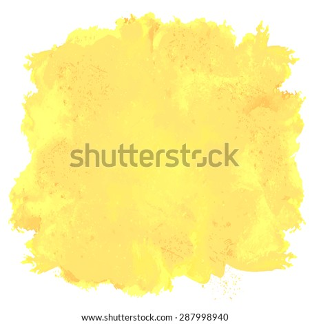 Abstract artistic beautiful and elegant colorful bright vector watercolor spot hand painted background. Text template. Grunge spring summer colors. Yellow shades. Fashion trend shade.