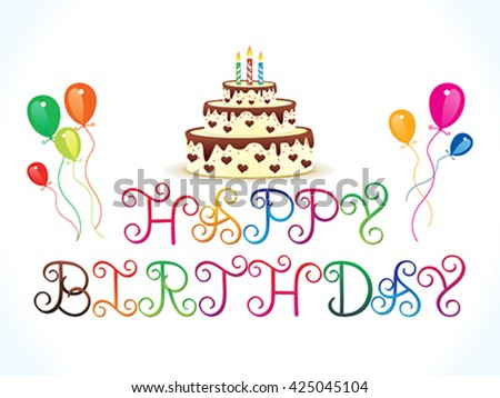 abstract artistic colorful happy birthday text vector illustration - stock vector