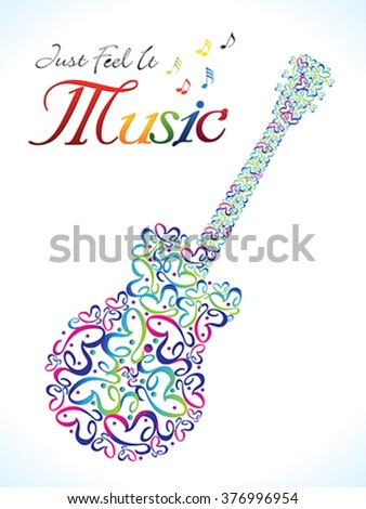 abstract artistic colorful musical guitar vector illustration - stock vector