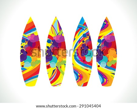 abstract artistic colorful surf board vector illustration - stock vector