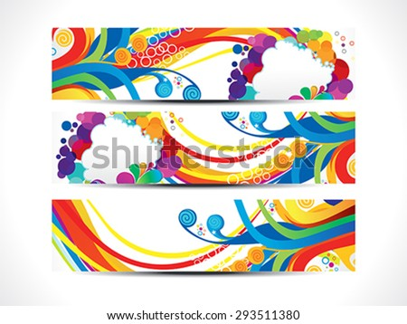 abstract artistic colorful web banners vector illustration - stock vector