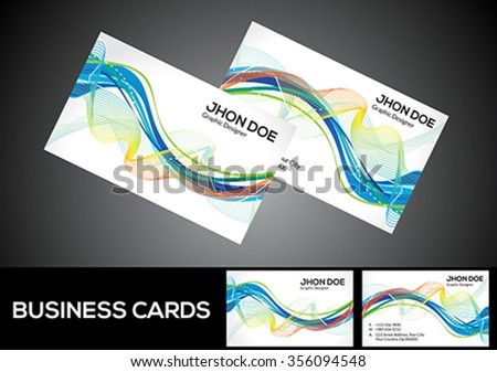 abstract artistic detailed business card vector illustration - stock vector