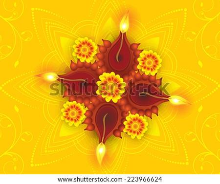 abstract artistic diwali on yellow rangoli discount card vector illustration - stock vector