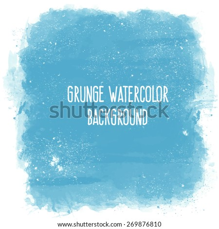 Abstract artistic elegant classic pastel vector watercolor spot hand painted background. Copy text template. Vintage faded colors. Blue shades. Isolated on white grunge texture. Artist collection.  - stock vector