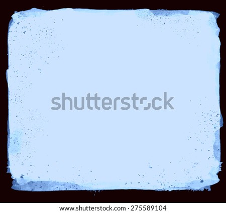 Abstract artistic elegant classic pastel vector watercolor spot hand painted background. Copy text template. Vintage faded colors. Blue shades. Isolated on black. Grunge texture. Artist collection.  - stock vector