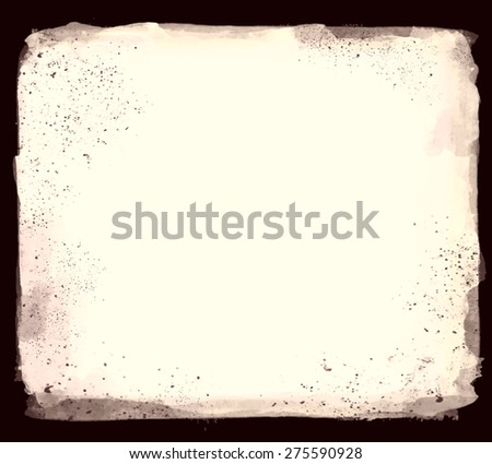 Abstract artistic elegant classic pastel vector watercolor spot hand painted background. Copy text template. Vintage faded colors. Aged shades. Isolated on black. Grunge texture. Artist collection.  - stock vector