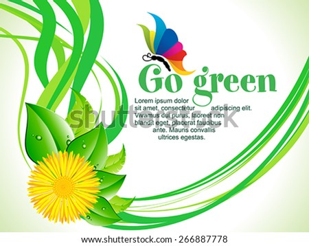 abstract artistic go green wave background vector illustration