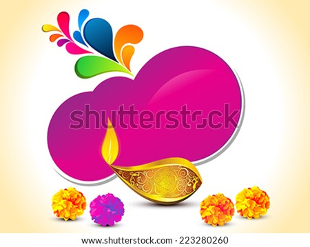 abstract artistic golden diwali with shiny purple shape vector illustration - stock vector