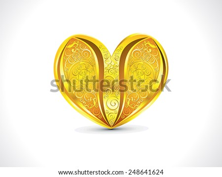 abstract artistic golden floral heart background vector illustration - stock vector