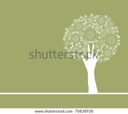 abstract artistic hand tree, symbol of nature protection - stock vector