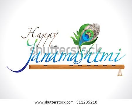 abstract artistic janamashtmi (celebration of the birth of the Hindu deity Krishna) background vector illustration - stock vector