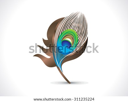 abstract artistic peacock feather vector illustration - stock vector