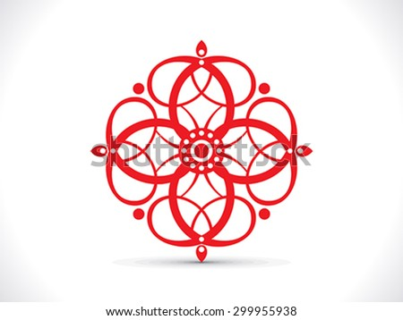 abstract artistic red floral element vector illustration - stock vector