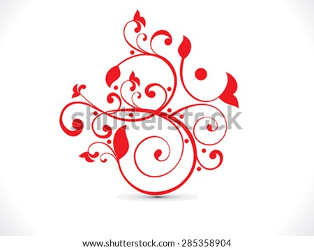 abstract artistic red floral om text  vector illustration - stock vector