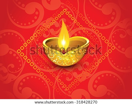 abstract artistic red golden diwali vector illustration - stock vector