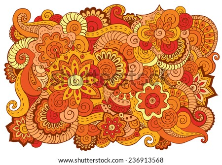Abstract asian ethnic floral retro doodle background pattern in vector. Henna paisley mehndi doodles design tribal pattern with paint stain. Easy editible. - stock vector