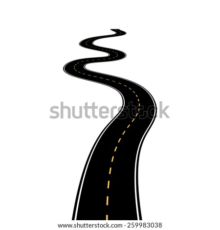 Abstract asphalt road isolated on white background - stock vector