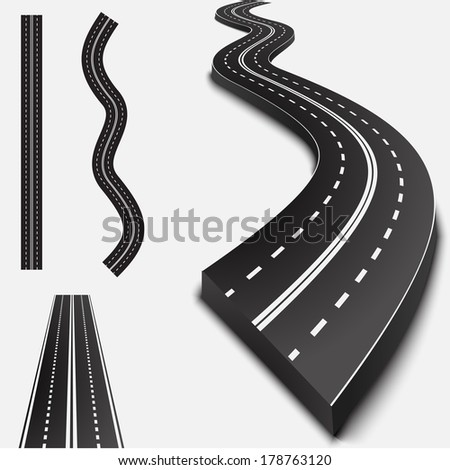 Abstract asphalt road isolated on white with shadows - stock vector