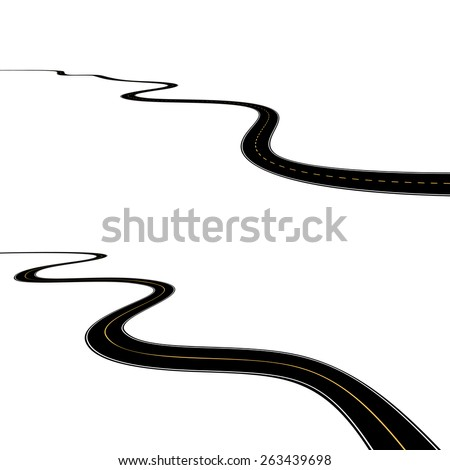 Abstract asphalt roads isolated on white background - stock vector