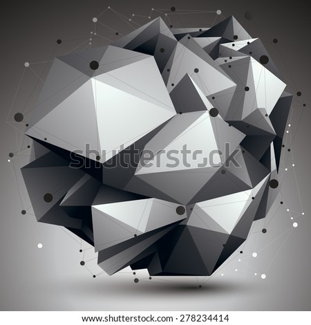 Abstract asymmetric vector monochrome object with black lines mesh, complicated geometric shape. - stock vector