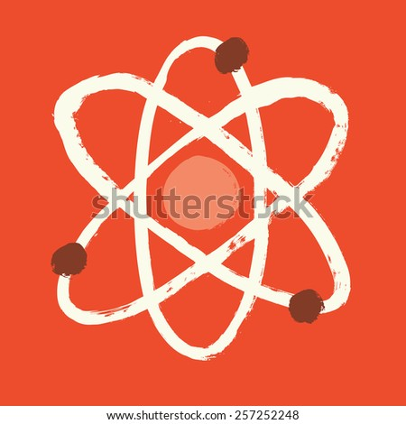 Abstract atom. Hand drawn illustration - stock vector