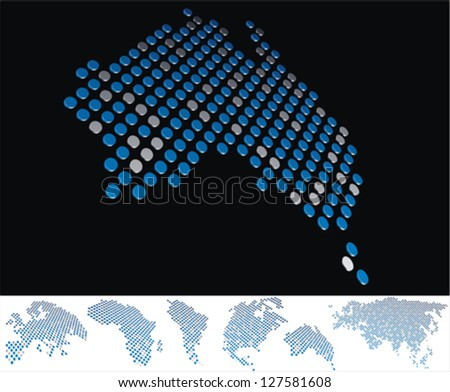 abstract Australia map from on array of blue and gray metallic points, on black background with maps of the continents on the white bottom line - stock vector