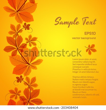 Abstract autumn background, seamless border ornament with yellow chestnut leaves, vector eps10  - stock vector