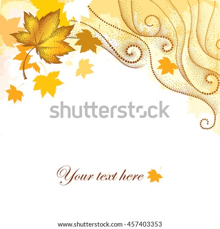 Abstract autumn background with dotted maple leaves and dotted swirls on the textured beige backdrop. Vector autumn elements in dotwork style. Composition with falling maple leaves for October design.