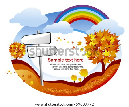 abstract autumn background with rainbow and signpost - stock vector