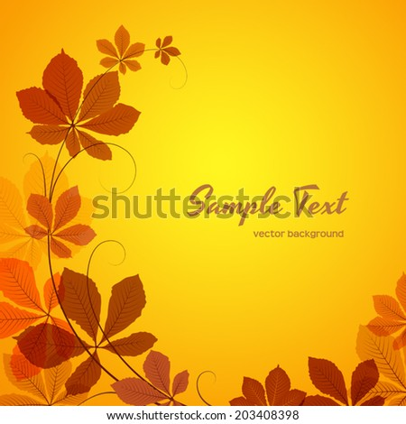 Abstract autumn background with yellow chestnut leaves, vector eps10  - stock vector