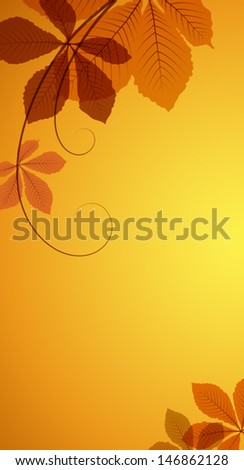 Abstract autumn background with yellow leaves, EPS10 vector  - stock vector