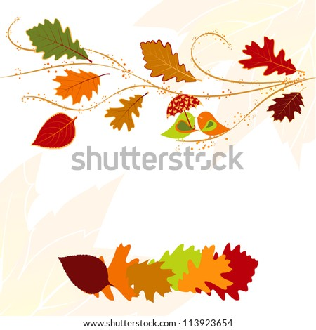 Abstract autumn leaf and lovebird greeting card