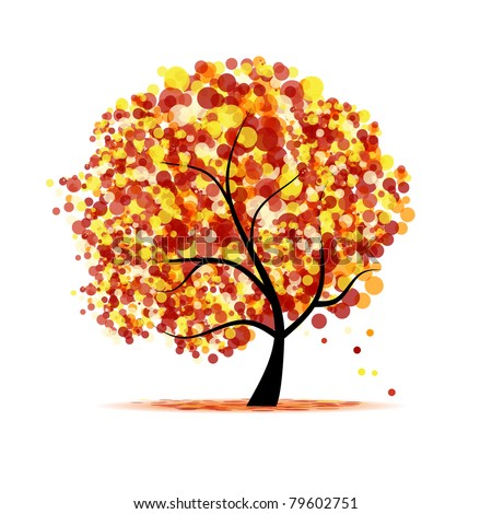 Abstract autumn tree for your design - stock vector